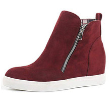 Women Platform Wedges Sneakers Side Zipper Fashion Ankle Boots Casual Shoes K-BEST(China)