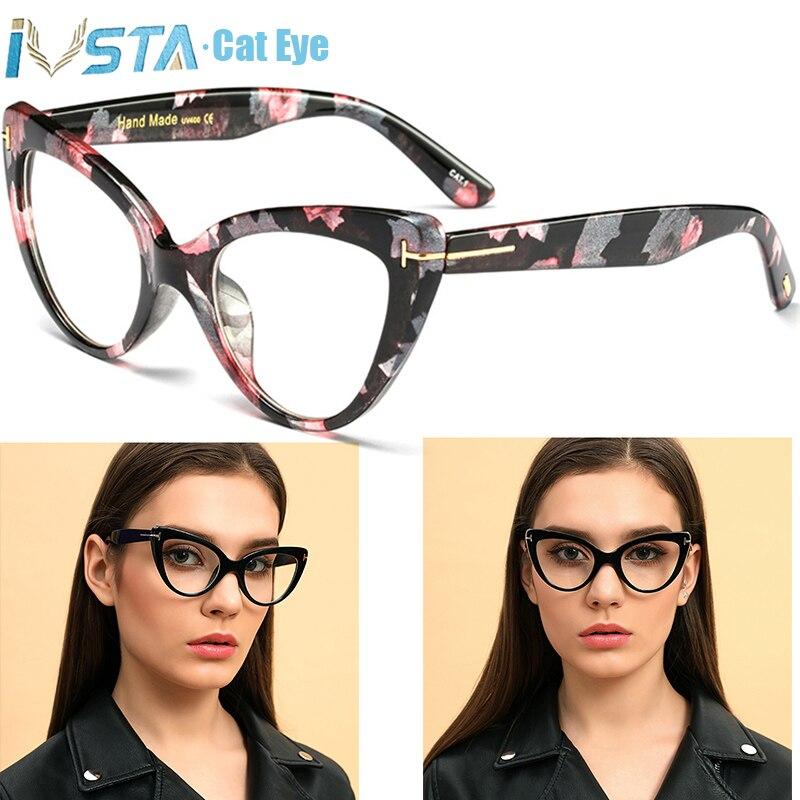 IVSTA Tom TF Cat Eye Glasses Frame Women Luxury Brand Designer Butterfly Oversized Optical Pink Myopia For Sight Prescription