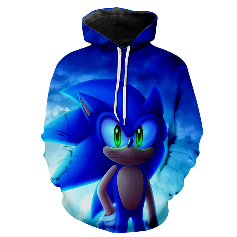 Sonic 3D New Fashion Pullover Hoodies Casual Long Sleeve Sweatshirt 3D Boys/girls  Clothes  Thin Style Baby Cartoon Sweatshirt