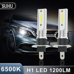 SUHU 2Pcs Car H1 COB LED Headlight Hi/Lo Beam Driving Light Lamp Bulb White 6500K 1200LM 12W Bulb Fog Head Lamps Car Accessories