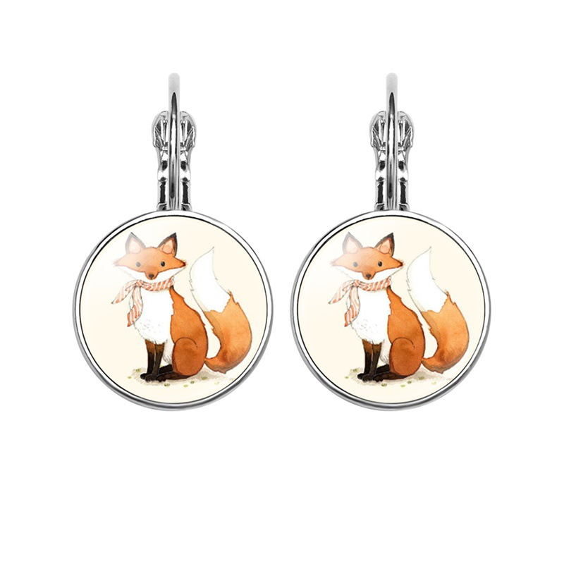 Glamour Fashion Exquisite Fox Style Pattern Convex Glass Inlay Earrings Women Wear Jewelry Friend Birthday Gift Party Accessory