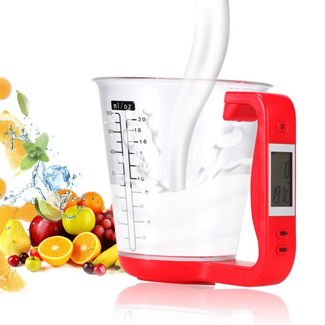 1000g/1g Measuring Cup Kitchen Scales Digital Beaker Libra Electronic Tool Scale With LCD Display Temperature Measurement Cups