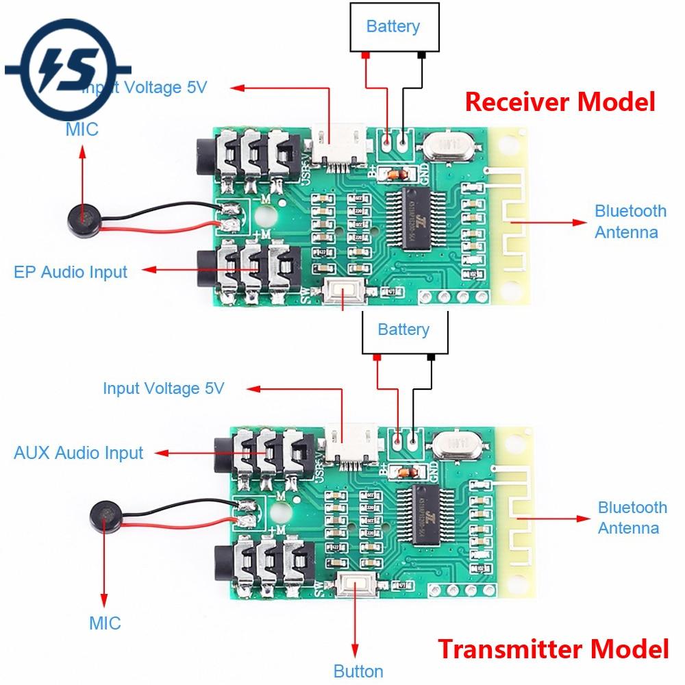 Módulo receptor y transmisor de Audio inalámbrico por Bluetooth V4.2, para micrófono, entrada de señal de Audio AUX, MP3, decodificación de altavoz DIY con microfono