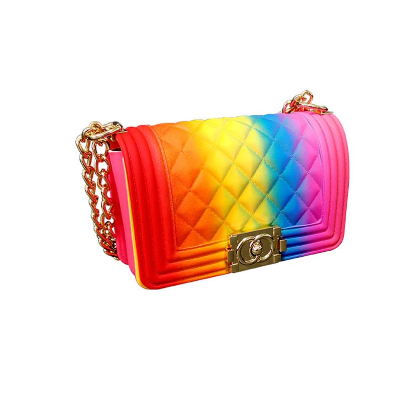 GW Luxury Fashion High Quality Ladies Women Square Handbags Women Colorful Rainbow  Jelly Handbags For Women 2020