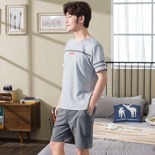 Summer Cotton Grey Pajama Sets Men's Leisure Loungewear Pijama Pyjamas Men Sleepwear Suit Nightwear Plus Size L-XXXL Homewear