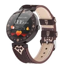 Smartwatch lv88s, relógio inteligente feminino lv88s para menina, presente, fitness, de couro, à prova d água, para android e ios