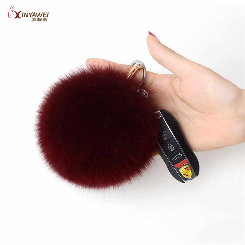 MuLTI-Coior Bola de Cabelo Fox Chave Anel Chave Cadeia Saco de Veludo Bola Bonito Fofo Fox Acessórios Pingente de Bola