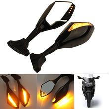 купить Motorcycle Universal  Rear View Side Mirrors LED Turn Signal Rearview Waterproof Bike Mirrors for HONDA SUZUKI KAWASAKI YAMAHA дешево
