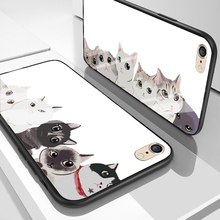Cat Case for iPhone X XS MAX XR Lovely Animal Tempered Glass Phone Case for iPhone 5 5S SE 6 6S 7 8 PLUS Shockproof Cover Funda tempered glass case for iphone xr x xs max 11 pro max flower shockproof case for iphone 6 6s 7 8 plus 5 5s se color back cover