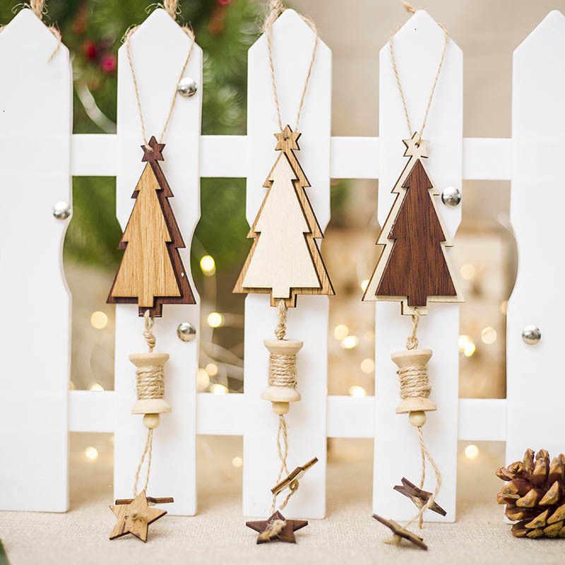 1 Cái Bông Tuyết Hươu Ông Già Noel Cây Giáng Sinh Gỗ Tự Nhiên Treo Trang Trí Quà Giáng Năm Mới Trang Trí Tiệc Cung Cấp 62889