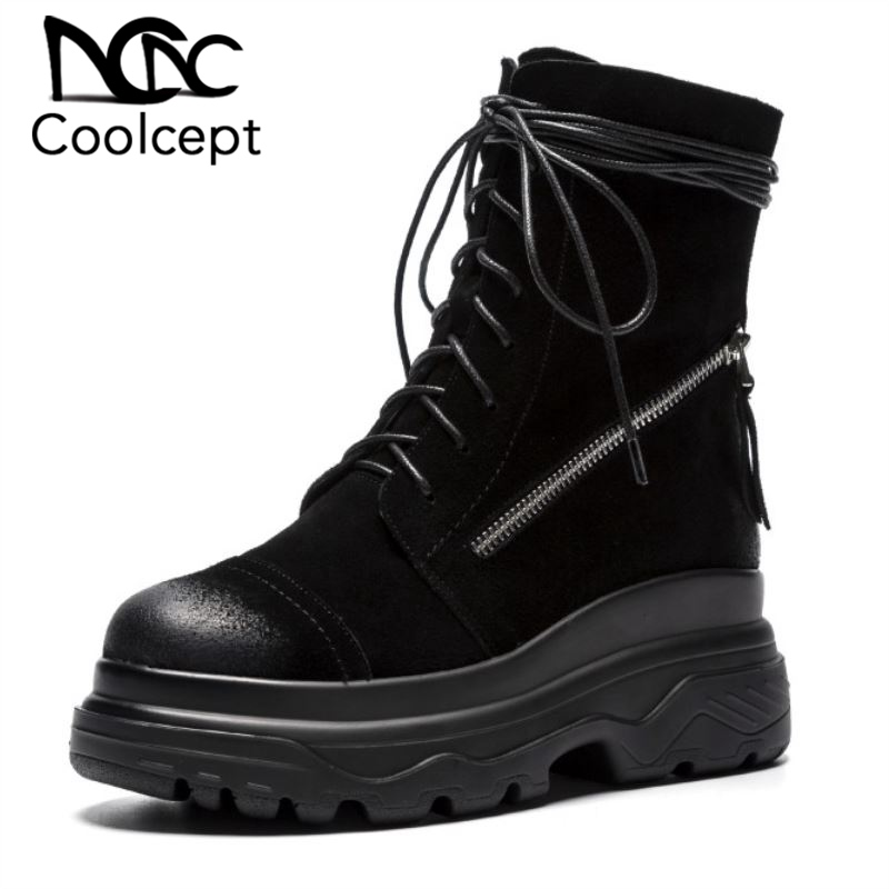 Coolcept Ladies Side Zipper Fashion Genuine Leather Ankle Boots Cross Strap Motorcycle Boots Short Knight Boots Size 34 39