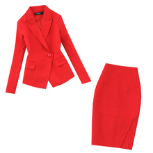 Womens suits 2019 new autumn large size red long-sleeved single buckle suit fashion bag hip skirt two-piece