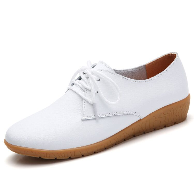 STQ 2019 Autumn women oxford shoes ballerina flats shoes women genuine leather shoes moccasins lace up loafers white shoes 051
