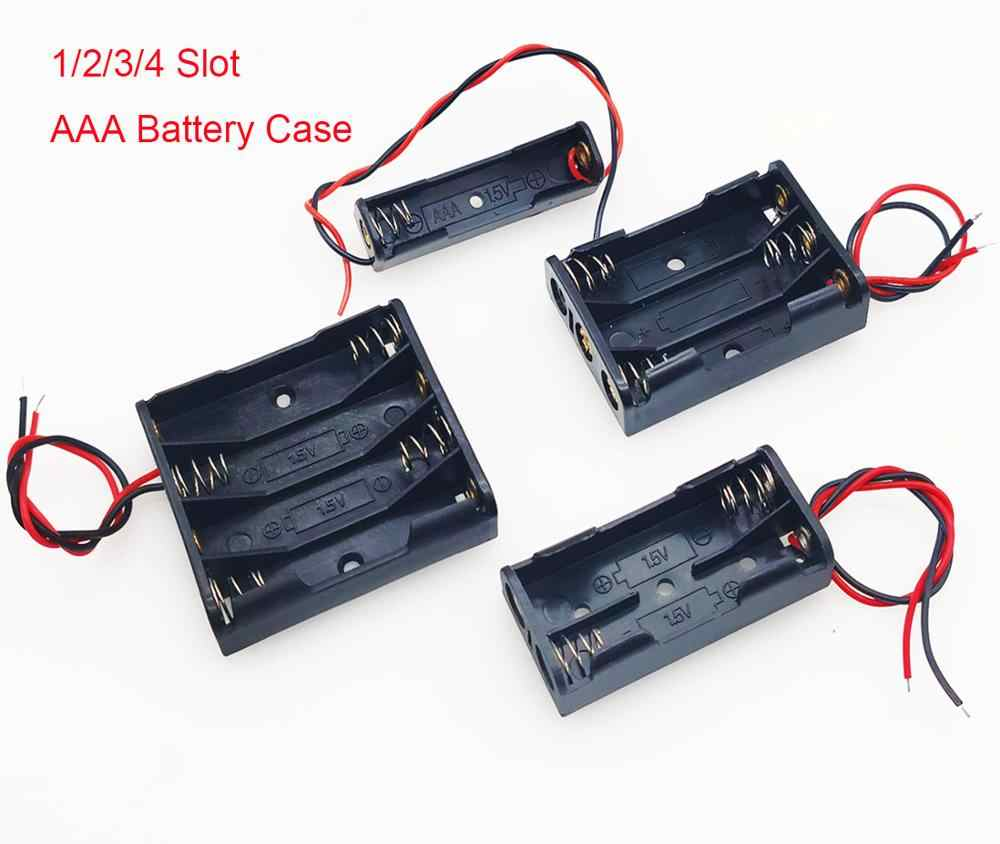 AAA Battery Storage Case 1/2/3/4 Slot Battery Box Battery Holder With Leads With 1 2 3 4 Slots AAA Drop Shipping
