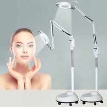 220v Large Standing Rotatable LED Illuminated Magnifier 5x Big Magnifying Glass With LED Light Beauty Salon Nail Tattoo Loupe 220v 3x floor stand green optical glass lens led illuminated big magnifying glass large lamp magnifer with led light