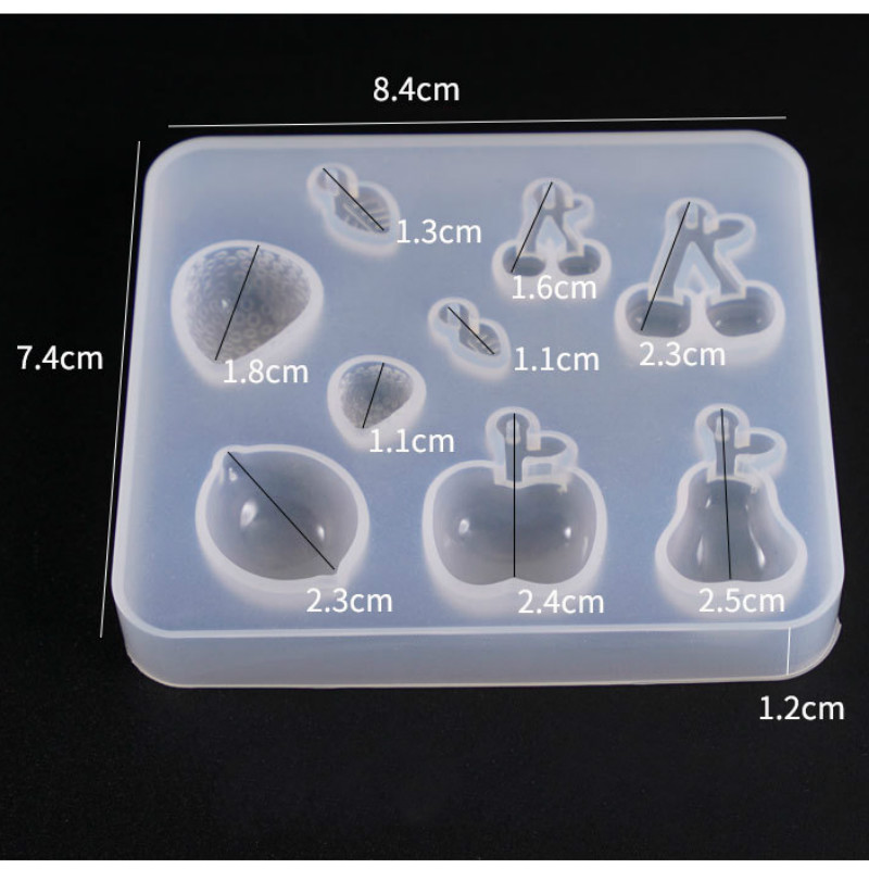 Fruit Mold Kawaii Resin Craft Supplies Apple Lemon Cherry Strawberry Silicone Mold Assorted Clear Soft Mold For UV Resin