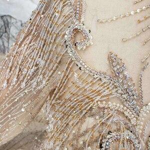 Image 5 - BGW HT5625 فساتين زفاف طويلة الأكمام الشمبانيا عالية الرقبة مطرز فساتين زفاف الكرة ثوب ثقب المفتاح الخلفي ثوب زفاف