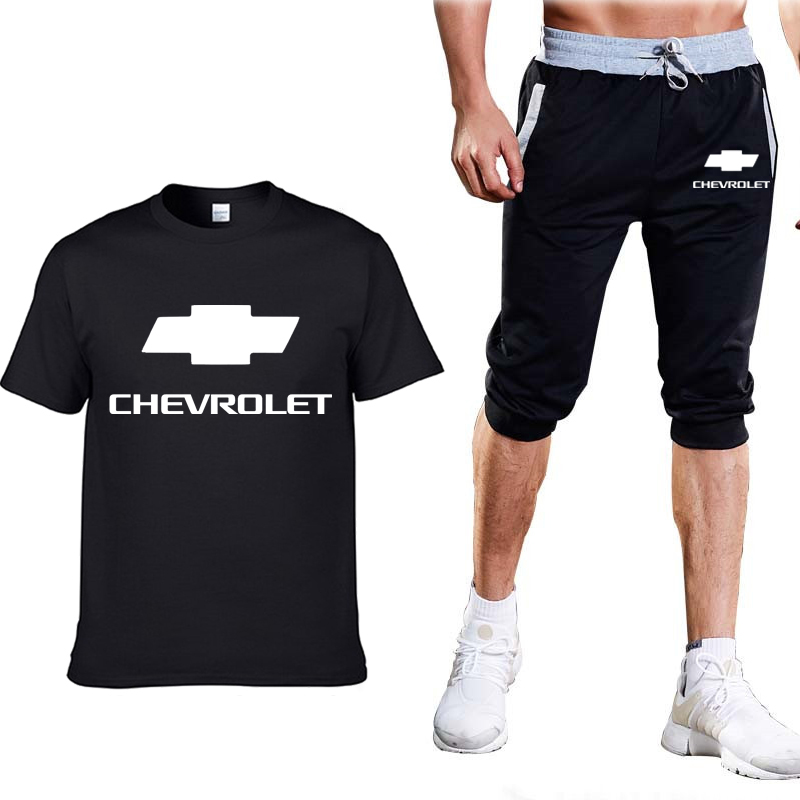 Fashion Summer Men T Shirts Chevrolet Logo Print HipHop Casual Cotton Short Sleeve High Quality T-shirt Pants Suit Men Clothing