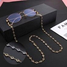 Teamer, cristal, gafas, cadena de correa para el cuello para mujer, gafas de sol con cuentas, cadenas, cordón de cordón para gafas, cuerda de Metal de Color dorado cuelga mascarillas