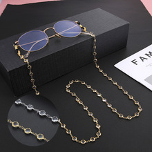 Teamer Crystal Glasses Neck Strap Chain for Women Beaded Sunglasses Chains Lanyard Eyeglasses Strap Cord Gold Color Metal Rope