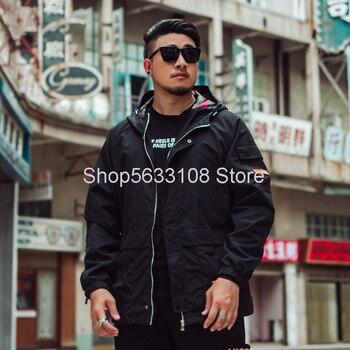 J1136 Jacket With Cap Leisure Jacket Plus Fat Plus Big Size Men's Wear Fat Clothing