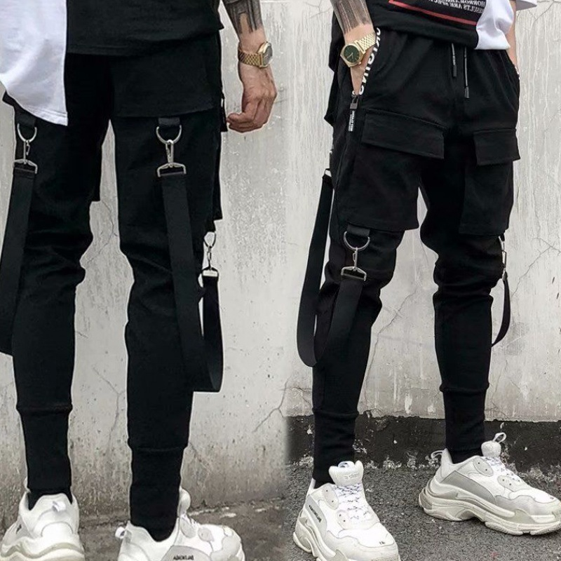 Hip Hop Hiphop Pants Men's Youth Popularity National Trends Spring And Autumn Cool Ribbon Pants Men Skinny Bib Overall