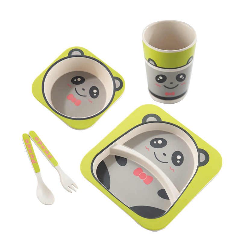 5 ชิ้น/เซ็ตเด็กจานชามเด็กการ์ตูนอาหารเด็กธรรมชาติไม้ไผ่ใยอาหารเย็นชามส้อมถ้วยช้อนแผ่น