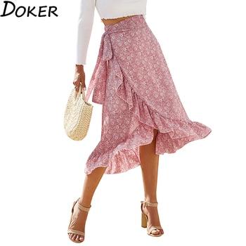 Vintage Chiffon Midi Skirts Womens 2020 Summer Floral Print High Waist Pleated Skirt Women Fashion Sexy Boho Pink Bandage