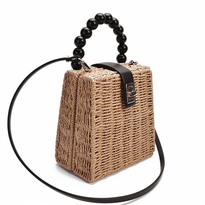 New Female Straw Bag Women Crossbody Bag Paper Rope Bead Handle Handbag Box Shoulder Bag Beach Holiday Bags
