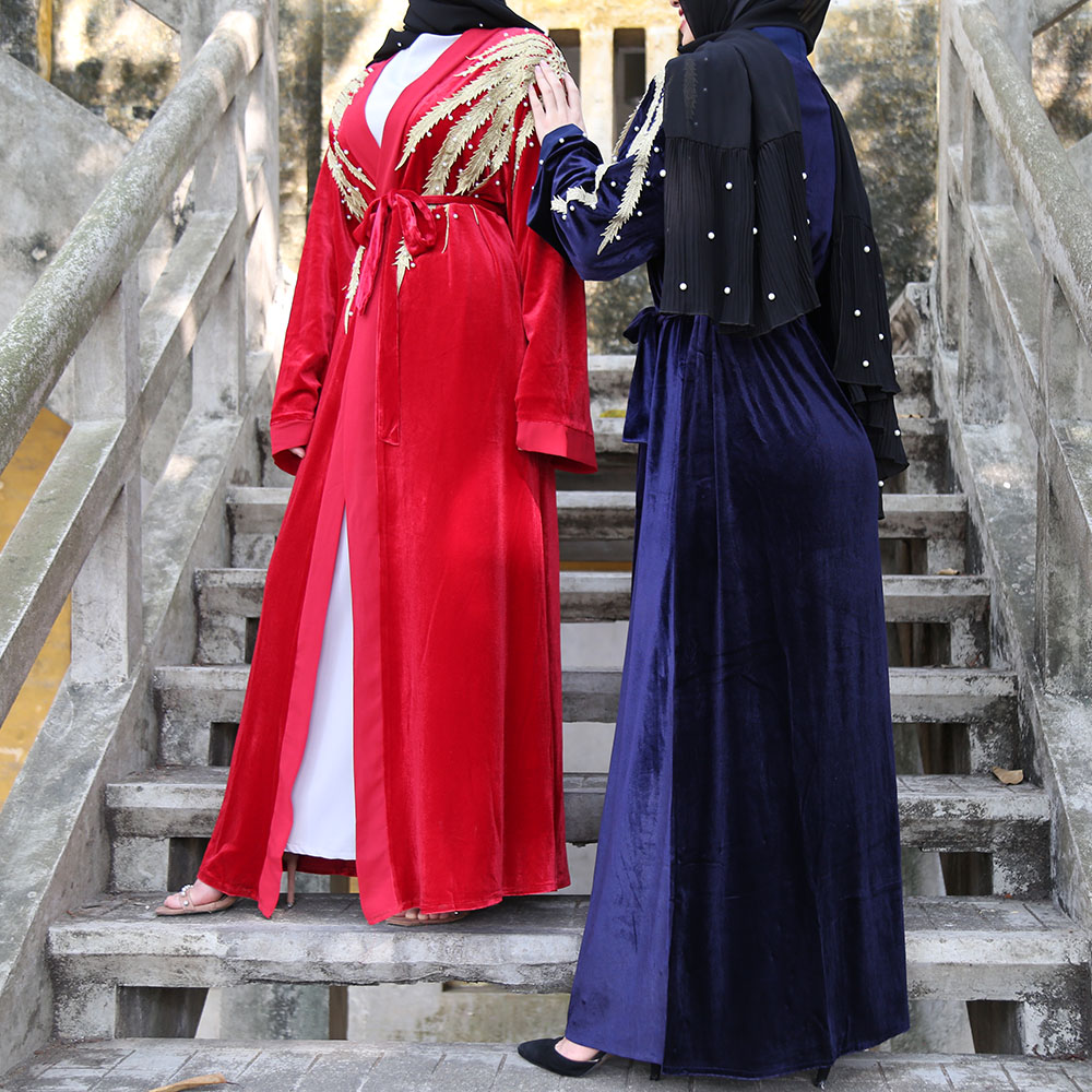 Hijab Muslim Dress Women Velvet Abaya Kimono Terciopelo Mujer Dubai Cardigan Saudi Turkish Islamic Clothing Kaftans Caftan Niqab