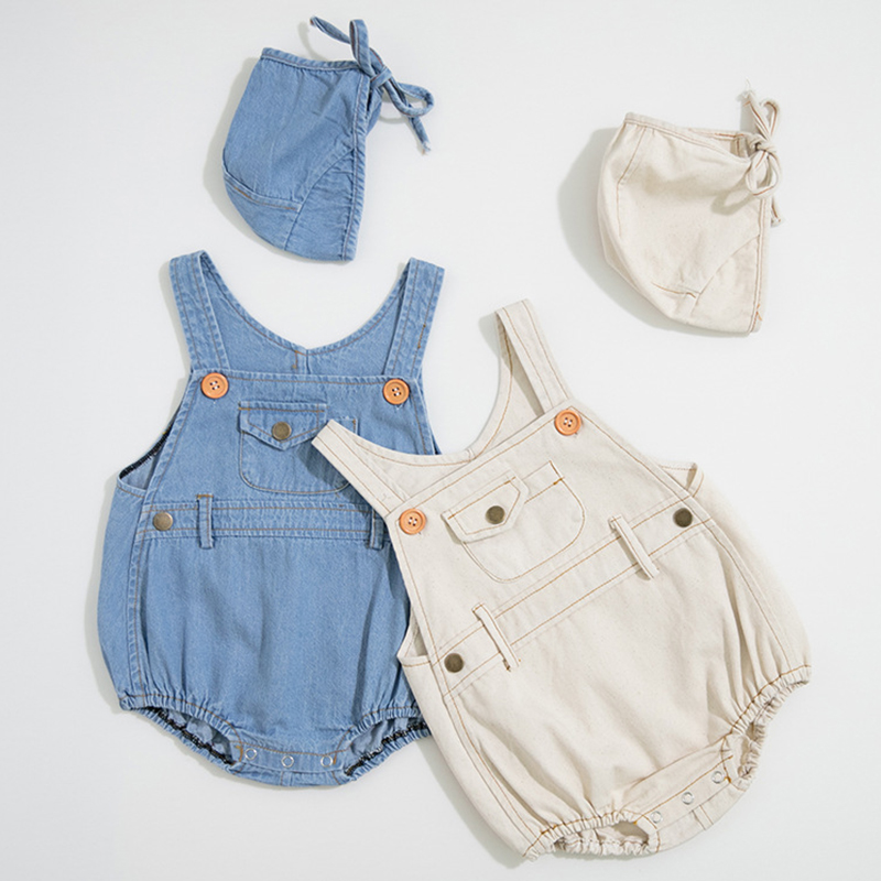 2020 New Lovely Baby Girls Boys Romper Summer Infant Solid Rompers+Hat Newborn Baby Cute One-pieces Kids Cowboy Jumpsuit