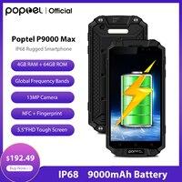Hot-selling Poptel p9000max robusto de smartphones banco de potência telefone 9000mah 4G LTE 4G/64G escritório grande bateria NFC para acampamento ao ar livre