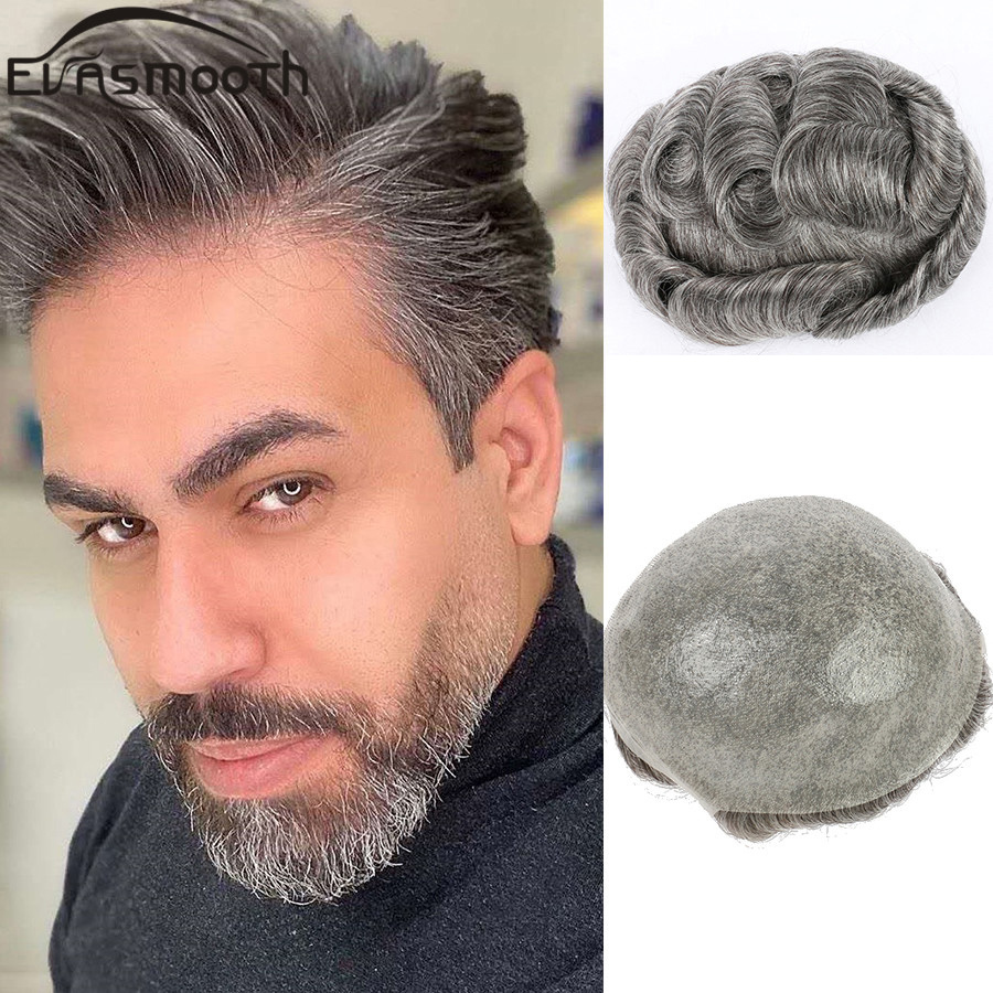 Hair Extensions Full Pu Male Wig Hair Prosthesis Men Toupee Grey Human Wig Natural Hair Men Wig System Hairline Remy Hair Pieces