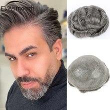 Perruque toupet naturelle Remy pour homme, postiche entièrement en Pu, cheveux humains, gris, système de naissance des cheveux