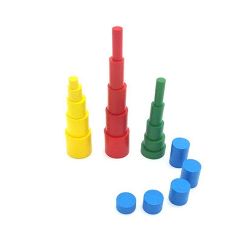 Montessori cilindros de madeira brinquedos educativos com