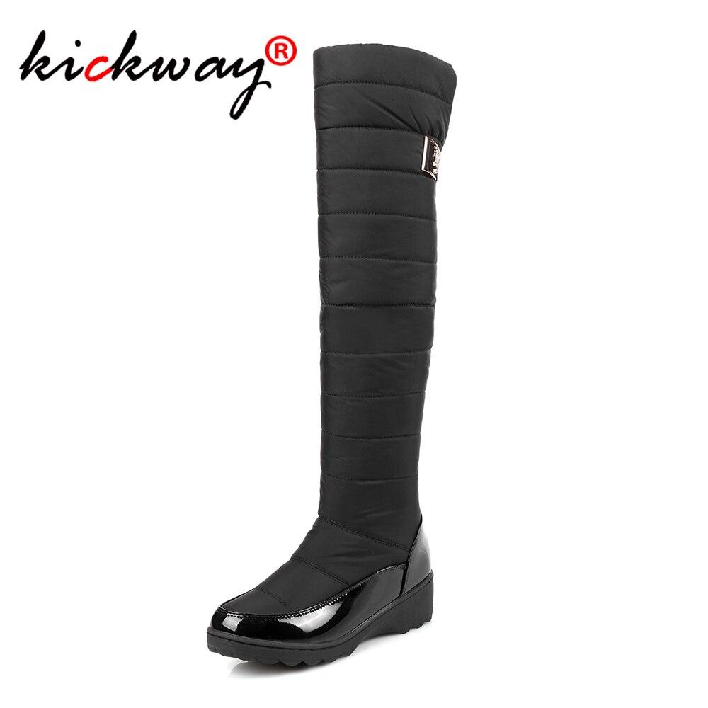 Femmes bottes de neige chaud hiver femmes chaussures femme en cuir verni genou bottes hautes pour femme Botas Mujer peluche dames bottes de neige