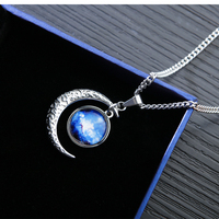 Brand women JEWELRY Stainless Steel Necklace pendant Blue Moon Stars Symbol Jewelry Moon dome necklace New Year Best Gifts
