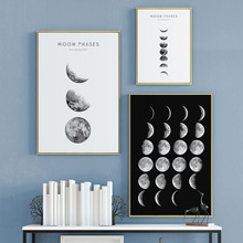Moon Phase Black White Canvas Posters and Prints Minimalist Luna Wall Art Abstract Painting Nordic Pictures Modern Home Decor black white palm tree leaves canvas posters and prints minimalist painting wall art decorative picture nordic style home decor