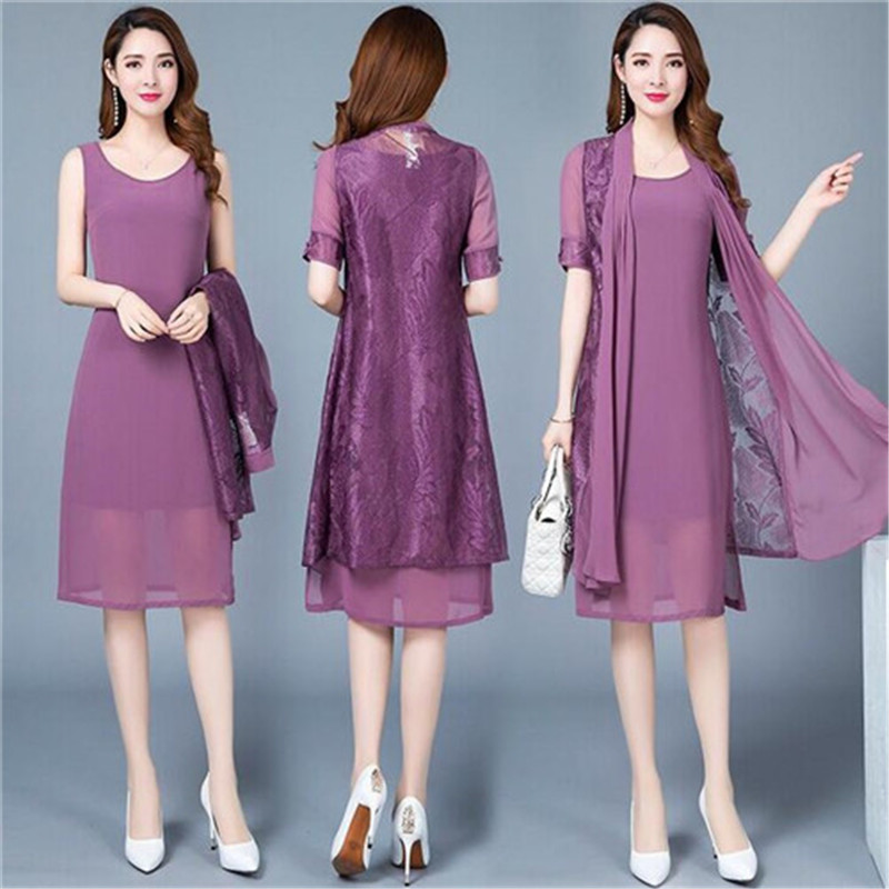 Robe d'été femmes d'âge moyen belle coréenne Vintage impression deux pièces robe grande taille mode élégante robe de bureau
