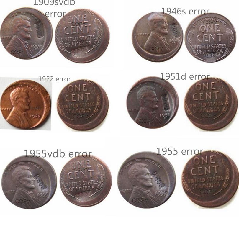 6 Differents Styles Us Wheat Penny Error Off Center Copper Copy