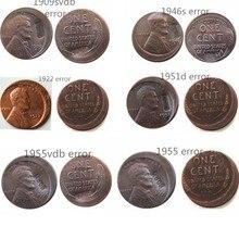 6 различных стилей США Пшеница Пенни ошибка вне центра медь копия монеты