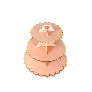 Одноразовые 3 ярусные бумажные подставки для торта послеобеденный чай Свадебная вечеринка тарелки Посуда поднос для сладостей обеденный дисплей посуда для выпечки торт стойка