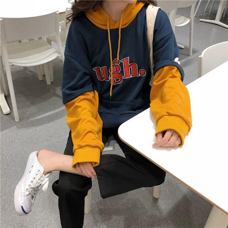 Sweatshirt  Fake Two Kpop Hoodies Stitching Long Sleeve Pullover Hip Hop Moletom Preppy Fleece Streetwear Sweatshirt New