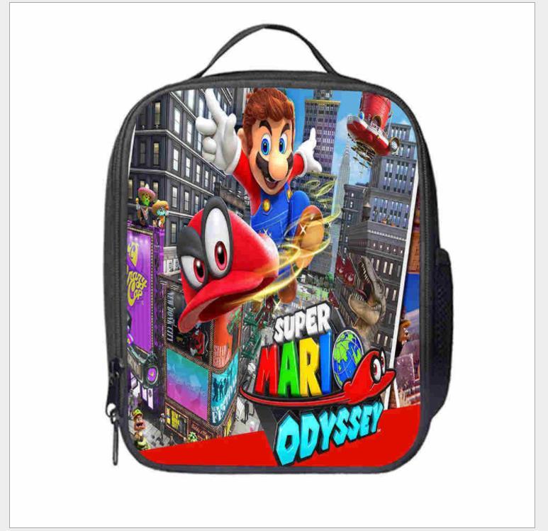 Bolsa dos Desenhos Bolsas de Piquenique Portátil para a Escola Mario Bros Sonic Cooler Almoço Animados Meninas Comida Térmica Crianças Meninos Lancheira Tote Mod. 137756
