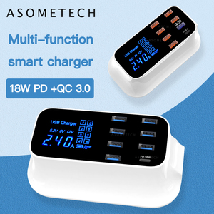 Image 2 - Quick Charge 3.0 Smart USB Type C Charger Phone USB Charger Fast Charging Desktop Socket Adapter Station Led Display For iphone