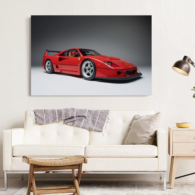 Ferrari F40-30x20 Inch Canvas Art Framed Picture Poster Print Supercar Art