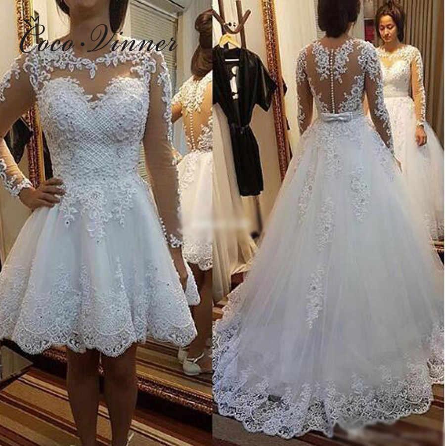 Perlen Perlen 20 in 20 Brasilien Hochzeit Kleid Vestido De Novia Spitze  Appliques Abnehmbare Zug EINE linie Brautkleider W02078