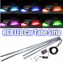 4x8 Colors Bright Auto LED Strip Neon LED Car Bottom Lights Underglow Underbody Music Active Sound System Neon Light Car Kit(China)