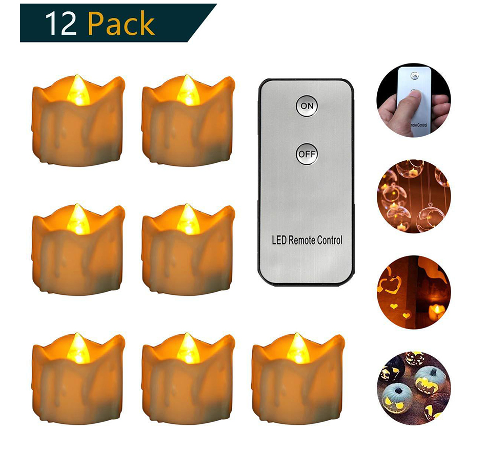 12pcs Remote/Non-Remote Control LED Lights, Battery Powered LED Lights, LED Candle Lights, Festive White Atmosphere, LED Candles