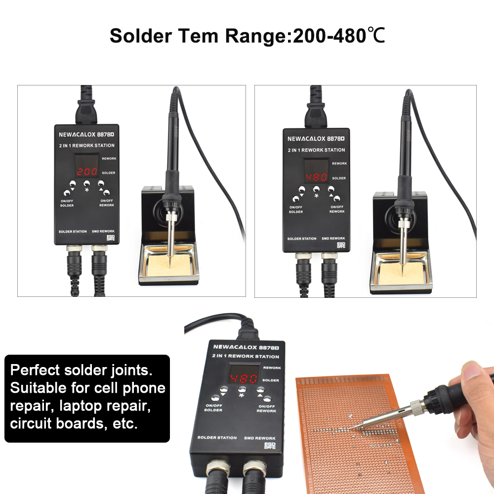 Welding Station Gun PCB 700W Hot 2 1 Iron Digital Soldering Station In Portable Phone IC Rework Soldering Air NEWACALOX For